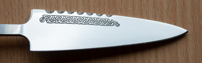 Custom Celtic blade engraving