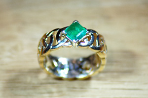 Celtic Emerald Engagement Ring